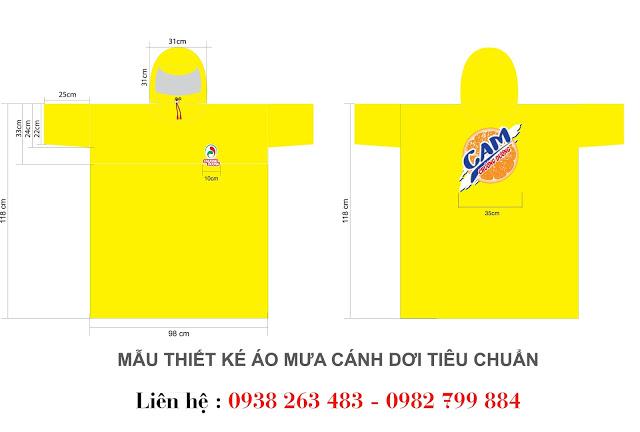 Mẫu thiết kế áo mưa cánh dơi tiêu chuẩn